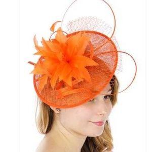Feather flower with lace fascinator